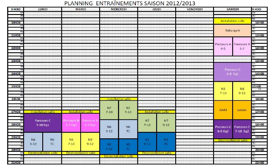 planning des cours 2012-2013
